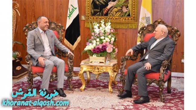 الدكتور نبيل جاسم رئيس شبكة الاعلام العراقي يزور االبطريركية