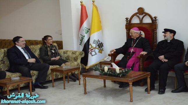 السفير البريطاني والقنصل العام يزور بلدة القوش للاطلاع على أحوال المسيحيين