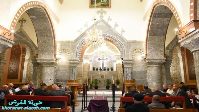صلاة تفسير الالام في كنيسة مار كوركيس بحضور الكهنة و الشمامسة فقط