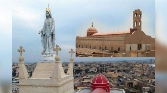رفع تمثال السيدة العذراء على كنيسة قرقوش التي استخدمها داعش كمستودع للأسلحة