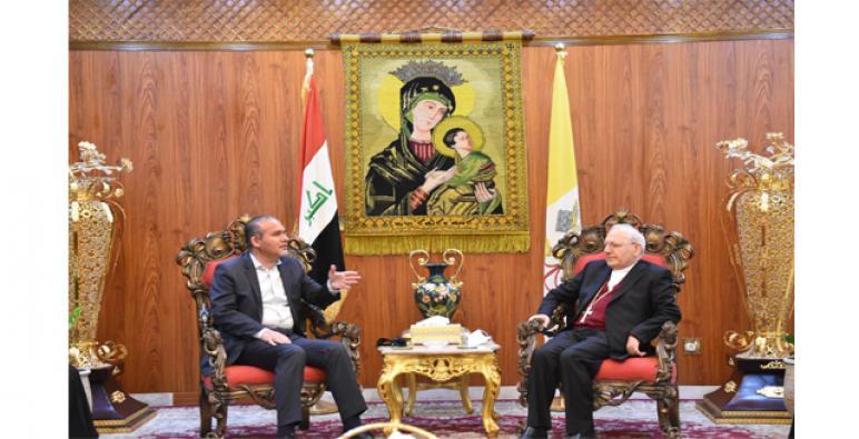 البطريرك ساكو يستقبل أمين بغداد السيد علاء معن